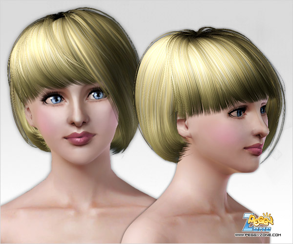 Asymmetrical bob hairstyle ID 44 by Peggy Zone for Sims 3
