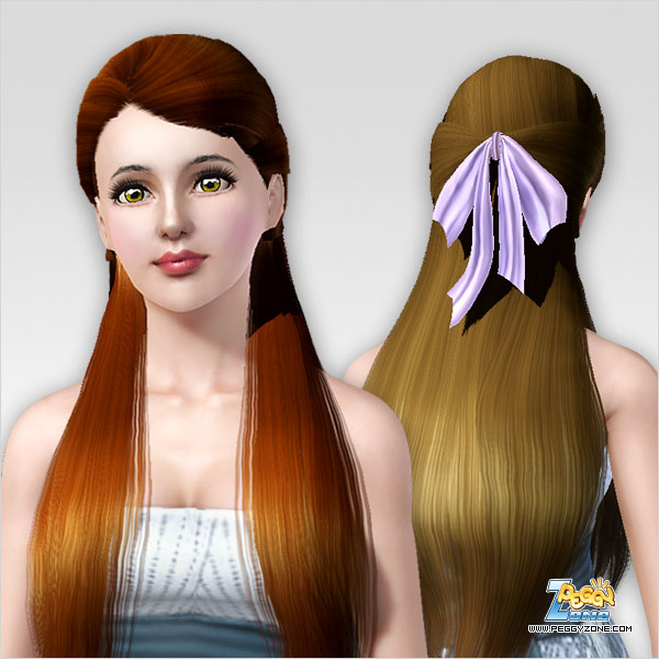 Super Half Up Half Down With Bow Hairstyle Id 424 By Peggy Zone Sims 3 Short Hairstyles For Black Women Fulllsitofus