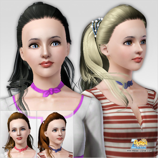 Ponytail with pearl clip hairstyle ID 168 by Peggy Zone for Sims 3