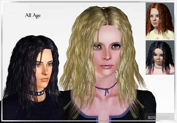 Crepe hair D 17 by Rose for Sims 3