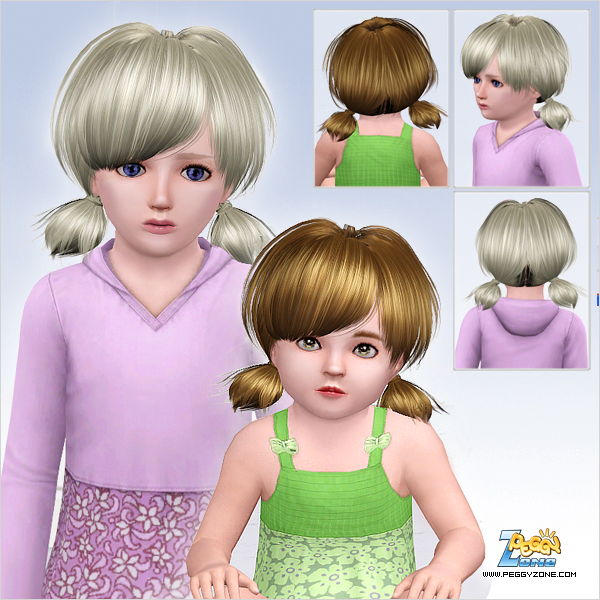 Sassy double ponytail with bangs ID 531 by Peggy Zone for Sims 3