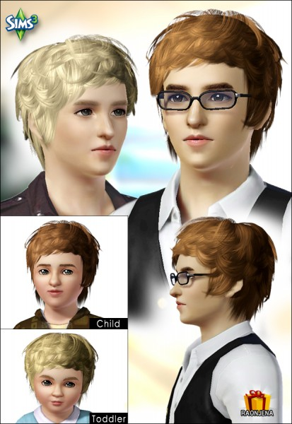 Wavy hairstyle for boys   Hair 07 by Raonjena for Sims 3