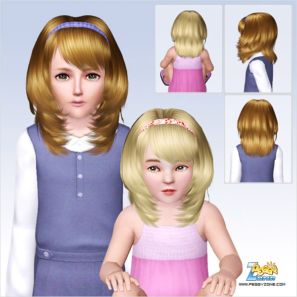 Bangs paired with a headband ID642 by Peggy Zone for Sims 3