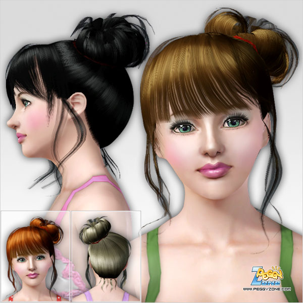 Fancy top knot hairstyle ID 80 by Peggy Zone for Sims 3