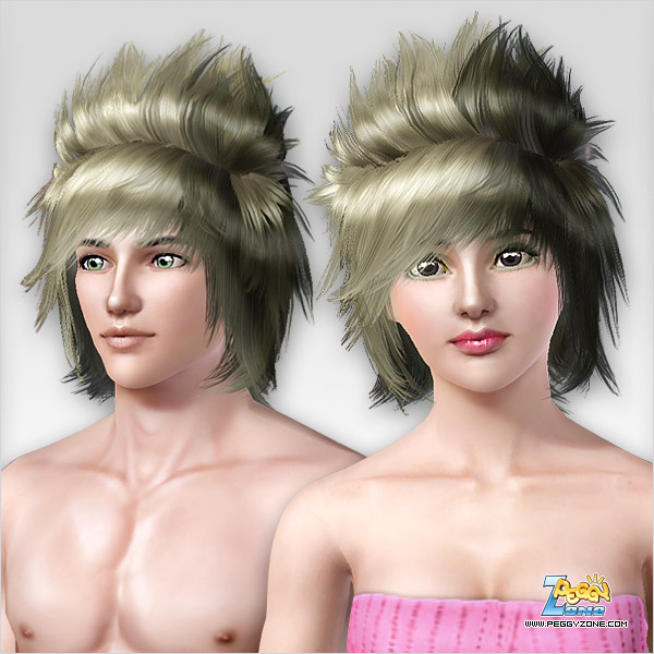 Spike haircut with bangs ID 286 by Peggy Zone for Sims 3