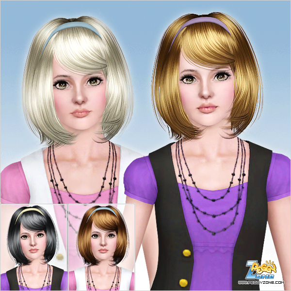 Bob with headband and bangs haircut ID 691 by Peggy Zone for Sims 3
