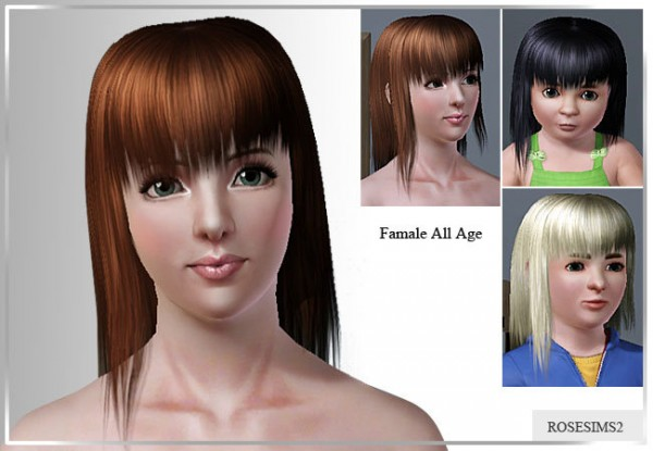 Fringed hairstyle by Rose Sims for Sims 3