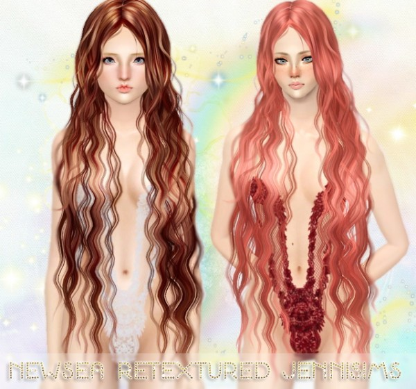 Super long and curly hairstyle   Newsea Hair Siren Forest retextured by Jenni Sims for Sims 3