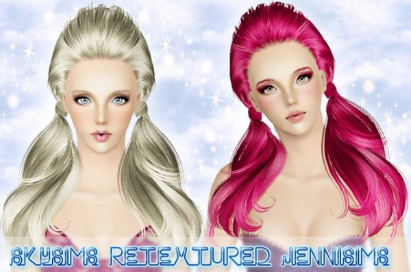 Double wrapped ponytail hairstyle   Skysims Hair 088 retextured by Jenni Sims for Sims 3