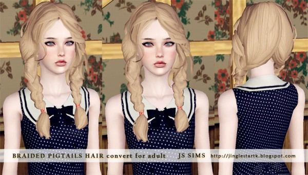 Braided pigtails hairstyle edited by JS Sims 3 for Sims 3
