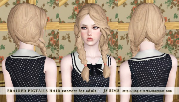 Swell Braided Pigtails Hairstyle Edited By Js Sims 3 Sims 3 Hairs Hairstyles For Men Maxibearus
