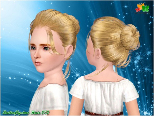 Ballerina bun hairstyle 072 by Butterfly for Sims 3