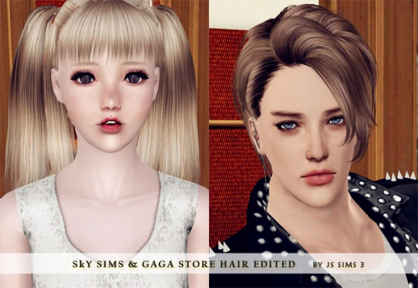 GaGa Store Long Pigtails & Skysims 121 Edited by JS Sims 3 for Sims 3