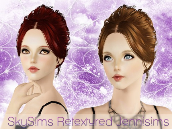Chignon with middle parth bangs   SkySims Hair 058 retextured by JenniSims for Sims 3