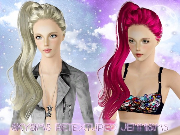 High side ponytail hairstyle   SkySims Hair 059 retextured by JenniSims for Sims 3