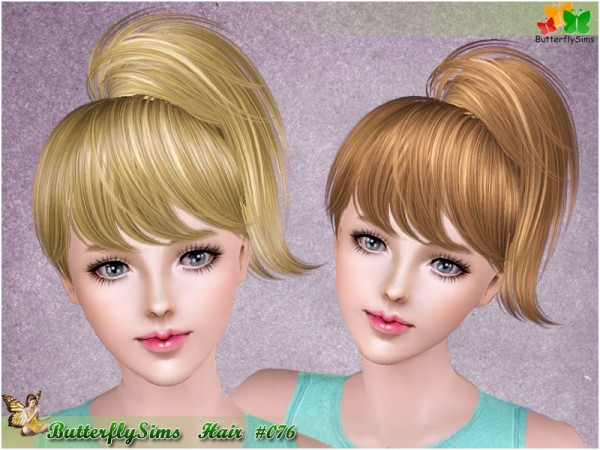 High spun ponytail with bangs hairstyle 076 by Butterfly for Sims 3