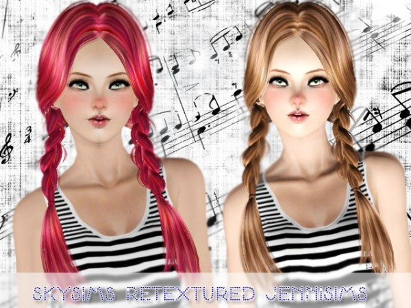 Dual braid hairstyle SkySims129 Retextured by Jenni Sims for Sims 3
