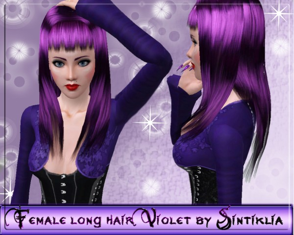 Bangs straight hairstyle    Female long hair Violet by Sintiklia for Sims 3