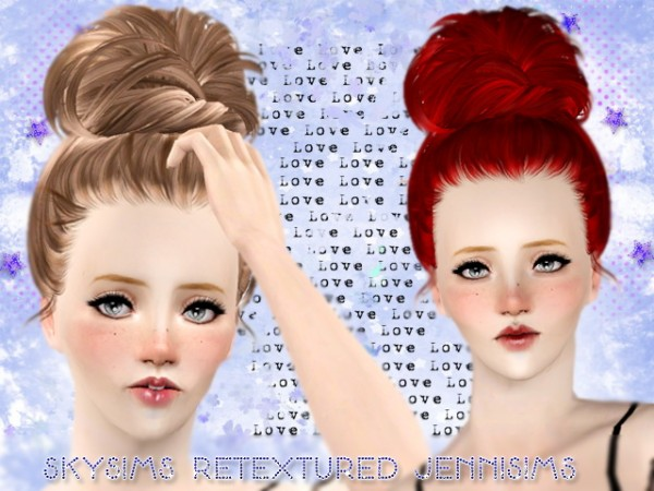 The big topknot SkySims 128 Retextured by Jenni Sims for Sims 3