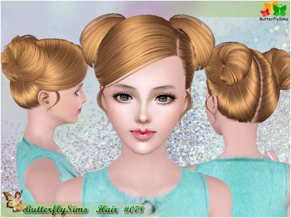 Two glossy buns hairstyle 078 by Butterfly for Sims 3