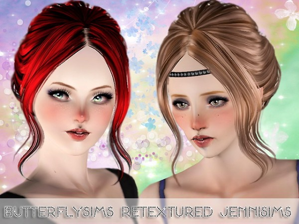 French bun hairstyle Butterfly 085 Retextured by Jenni Sims for Sims 3