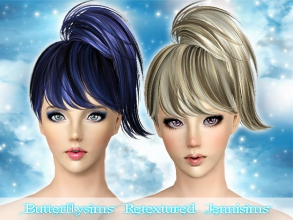 High spun ponytail with bangs Butterfly 076 retextured by Jenni Sims  for Sims 3