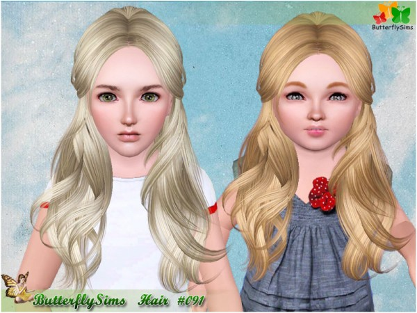 Half up do hairstyle 091 by Butterfly for Sims 3
