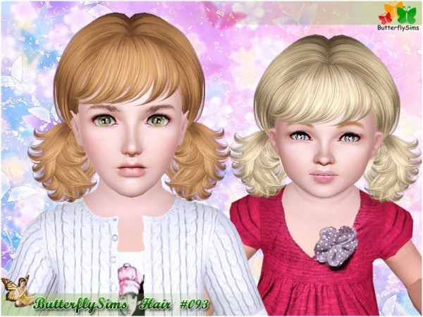 Two messy pigtails with bangs 093 by Butterfly for Sims 3