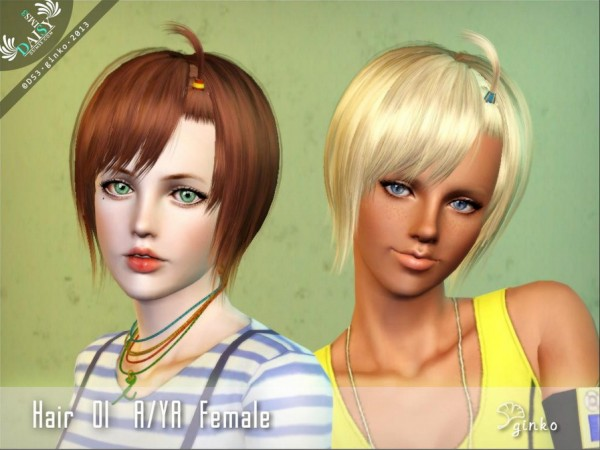 Bob with  pigtail   Hair 01 by Daisy Sims3 for Sims 3