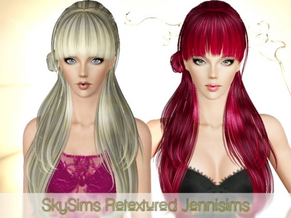 Super shiny with giant bangs hairstyle   Skysims hair 091 Retextured by Jenni Sims  for Sims 3