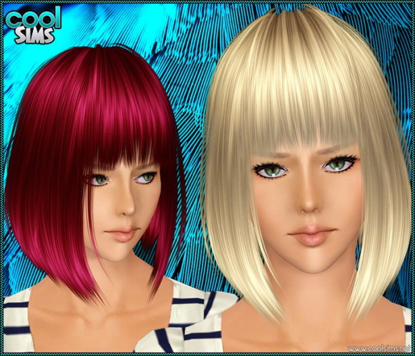 Asymmetrical bob with bangs hairstyle 98 by Cool Sims for Sims 3