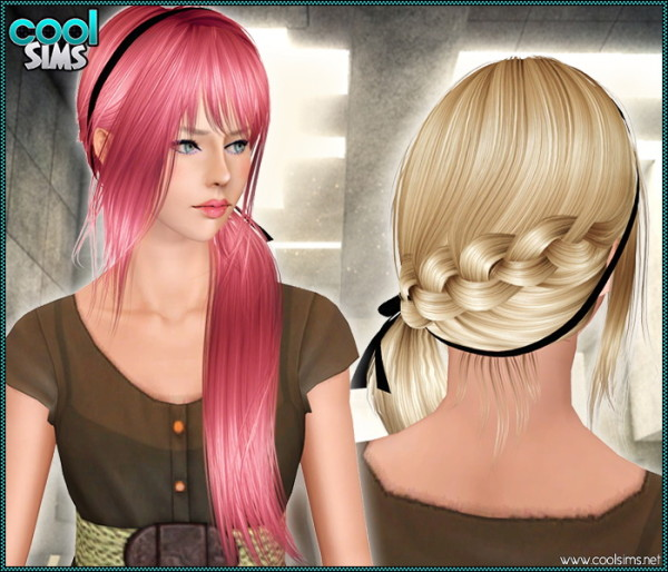 Asymmetrical braided side with headband and bangs hairstyle 96 by Anto for Sims 3