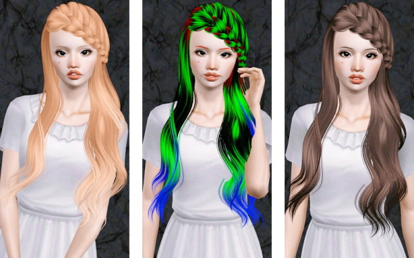 Braided side bangs hairstyle   Skysims 174 retextured by Beaverhausen for Sims 3