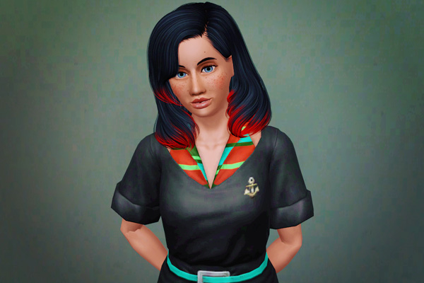 Exotic waves hairstyle retextured by Beaverhausen  for Sims 3