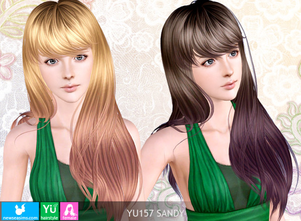 Splendid hairstyle with bangs YU 157 Sandy by NewSea for Sims 3