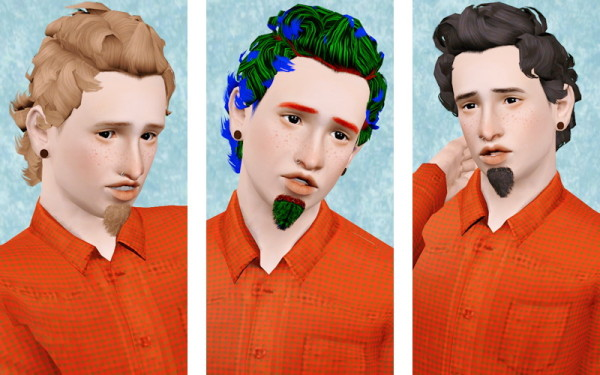 Frizzy hairstyle for mens    Midnight Hollow retextured by Beaverhausen for Sims 3