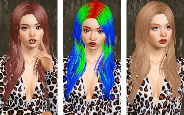 The Middle Part Maiden hairstyle   Newsea's Sand Glass retextured by Beaverhausen for Sims 3