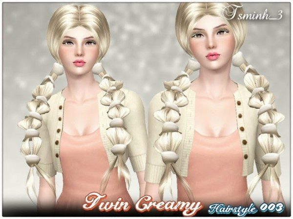 Tied with braid hairstyle Twin Creamy 003 by Tsminh for Sims 3
