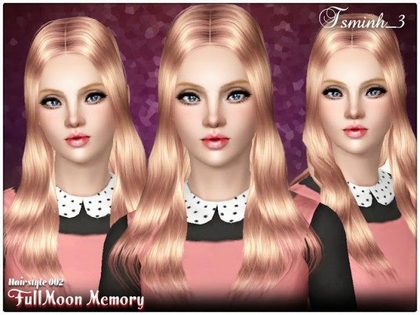 Straight hairstyle   FullMoon Memory 002 by Tsminh for Sims 3