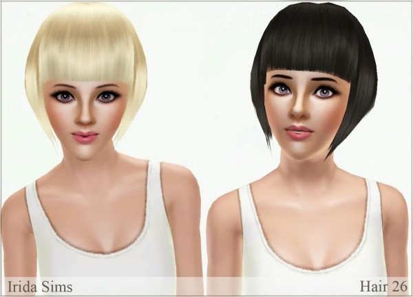 Straight asymmetrical bob hairstyle by Irida for Sims 3