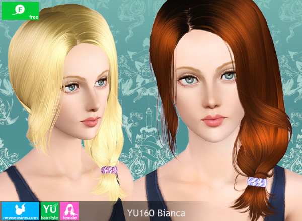 Side pigtail hairstyle YU160 Bianca by NewSea for Sims 3