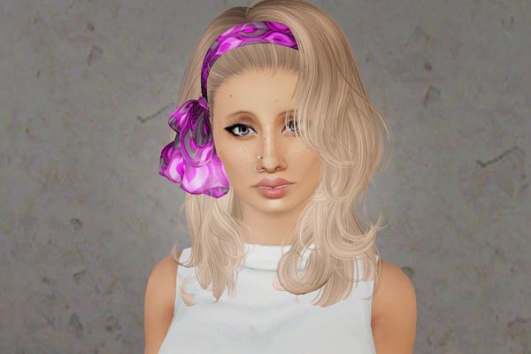 Headband with bow hairstyle     Newsea's Long Love Letter retextured by Beaverhausen for Sims 3