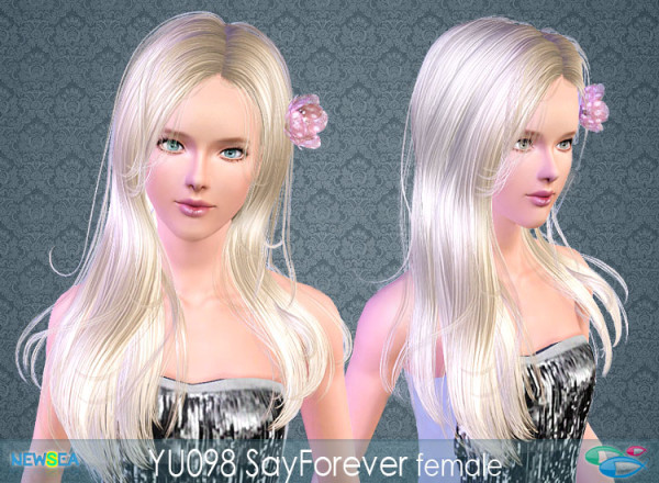Glossy hairstyle   YU 098 Say Forever NewSea for Sims 3