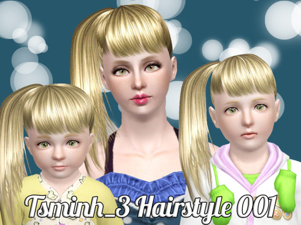 Glossy side ponytail hairstyle   Set 001 by Tsminh  for Sims 3