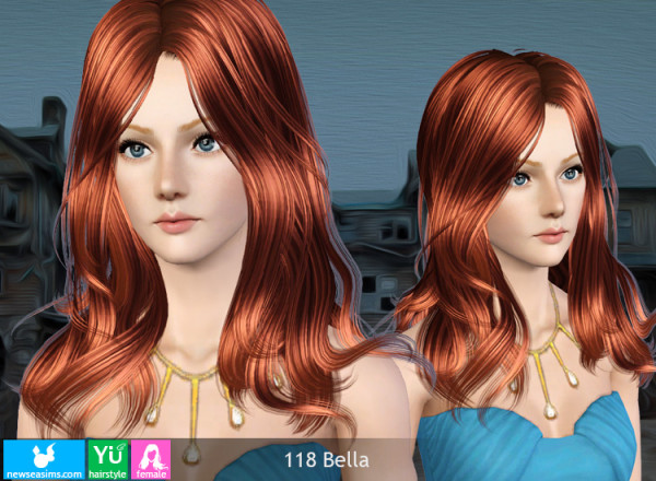 Glossy middle parth hairstyle 118 Bella by NewSea for Sims 3