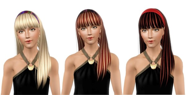 Headband with bangs hairstyle CoolSims 108 retextured by 19 Sims 3 Blog for Sims 3