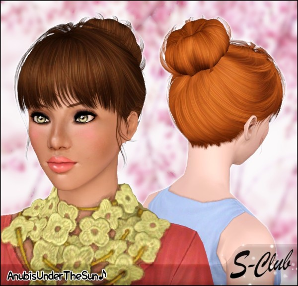 Ballerina chignon with bangs S Club hairstyle retextured by Anubis for Sims 3