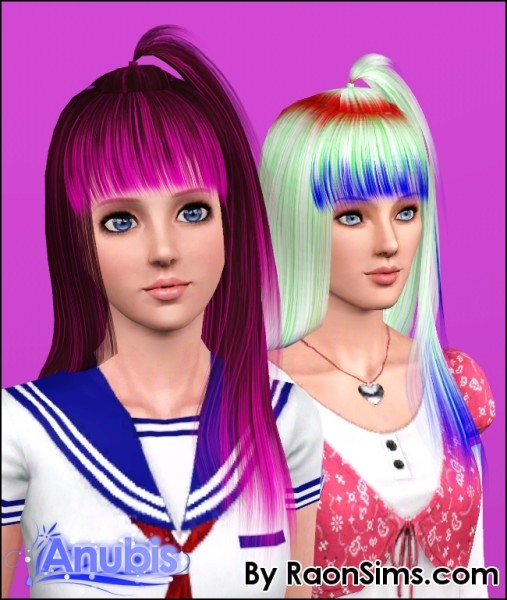 High small pigtail hairstyle Raon 008 retextured by Anubis for Sims 3