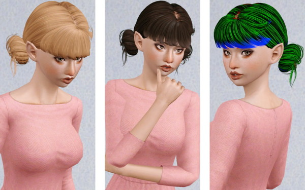 Rebecca double chignon  Skysims retextured by Beaverhausen for Sims 3