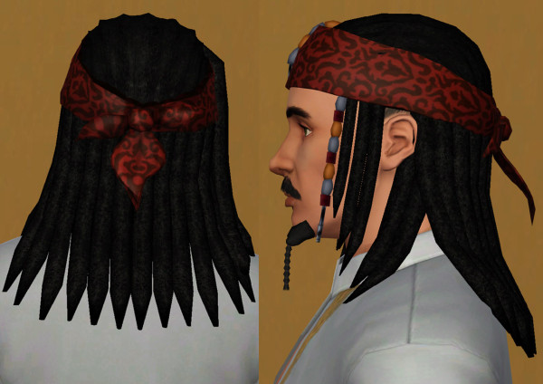 Pirates of the Caribbean hairstyle   Captain Jack Sparrow by necrodog at Mod The Sims for Sims 3